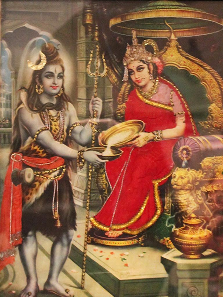 Vintage Print Of Hindu God Shiva And The Goddess Parvati